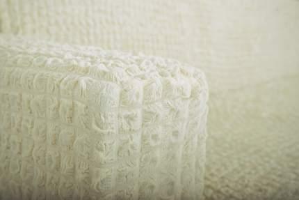 Чехол на угловой диван с оттоманкой CONCORDIA, выступ справа, молочный