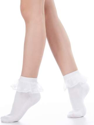 Носки Hobby Line 841-1 детские  гладкие, ситцевая рюша, белый, 18-20