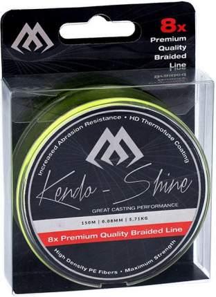 Шнур плетеный Mikado Kendo Shine 8-x HDPE 0,18 мм, 150 м, 17,81 кг yellow