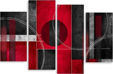 Картина модульная на холсте Модулка Красно-черная абстракция 90х62 см