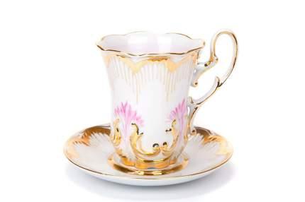 Бокал с блюдцем, чайная пара Дулево, Рельефный Солнечный, 500 мл., фарфор