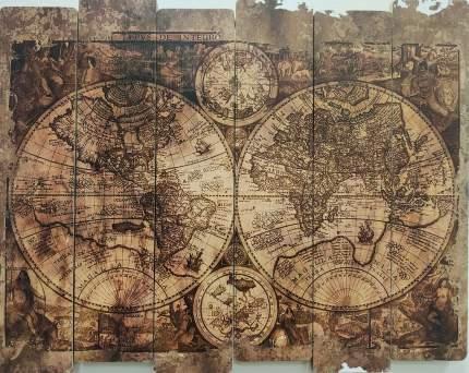 """Картина на досках """"Карта мира"""""""