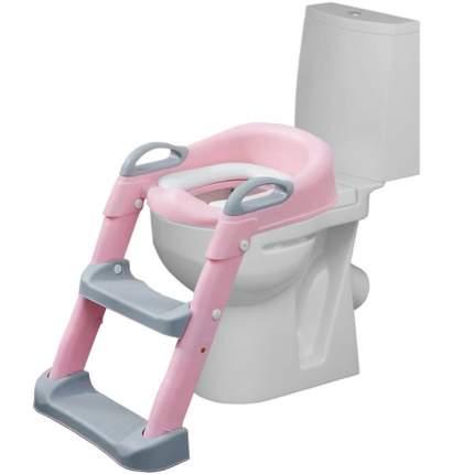 Детское сиденье на унитаз со ступенькой Мамонтёнок, цвет розовый