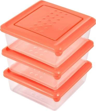 Набор емкостей для продуктов Plast Team PATTERN 3 шт. (124х124х85 мм 0,5л)