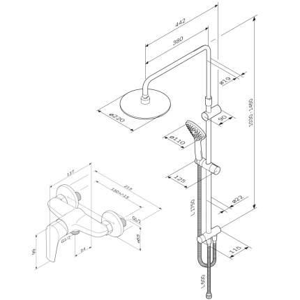 Душевая система AM.PM F4088934 со смесителем