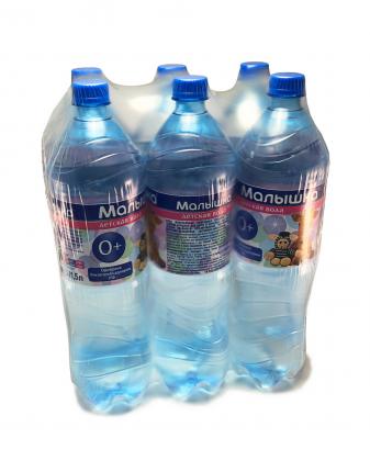 Вода минеральная природная столовая питьевая негазированная Малышка 1.5 л  6 штук