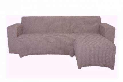 Чехол на угловой диван с оттоманкой CONCORDIA, выступ слева, тускло-сиреневый