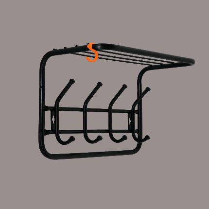 Вешалка ЗМИ настенная с полкой 40 см, с 4-я крючками, цвет черный