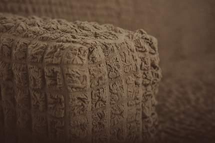 Чехол на угловой диван с оттоманкой CONCORDIA, выступ слева, коричневый