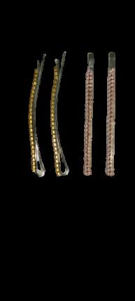 Заколки-невидимки для волос Dualaimei Розовые со стразами, 6 см, 4 шт.