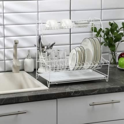 Сушилка для посуды с поддоном, белый, 39,5 x 25 x 38 см