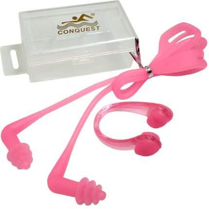 C33555-2 Комплект для плавания беруши и зажим для носа (розовые)