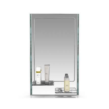 Зеркало ЕвроЗеркало 123ПЛ малахит серебро, 45х75 см., для ванной комнаты, две полочки