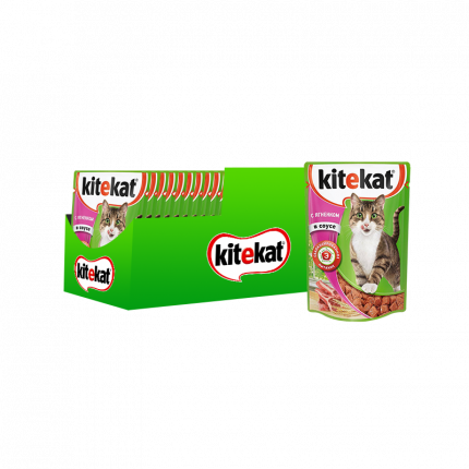Влажный корм для кошек KiteKat, ягненок, 28шт, 85г