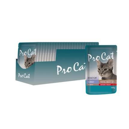 Влажный корм для кошек Pro Cat, индейка, 24шт, 100г