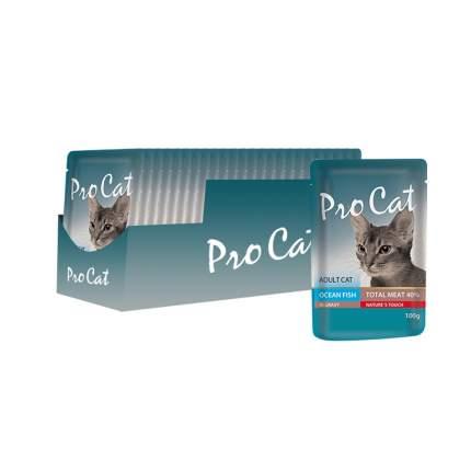 Влажный корм для кошек Pro Cat, рыба, 24шт, 100г