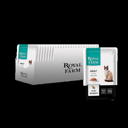 Влажный корм для кошек ROYAL FARM для стерилизованных, кролик, 24шт, 85г