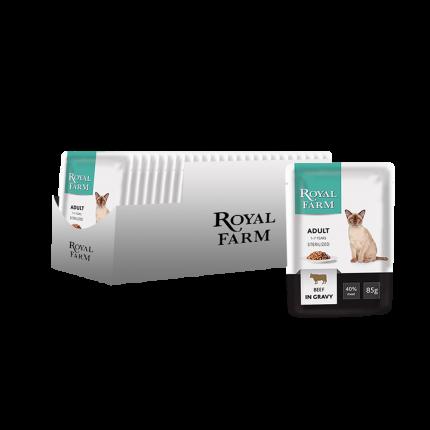 Влажный корм для кошек ROYAL FARM для стерилизованных, говядина, 24шт, 85г
