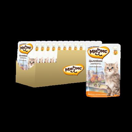 Влажный корм для кошек Мнямс, цыпленок, 12шт, 85г