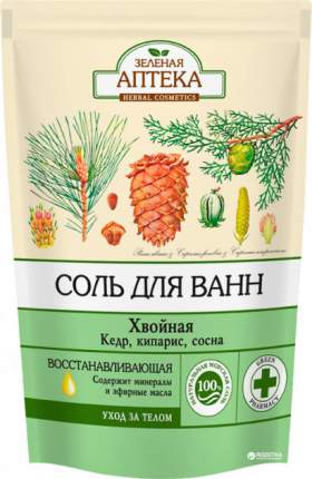 Соль для ванн Зеленая аптека Хвойная дой-пак 500 г
