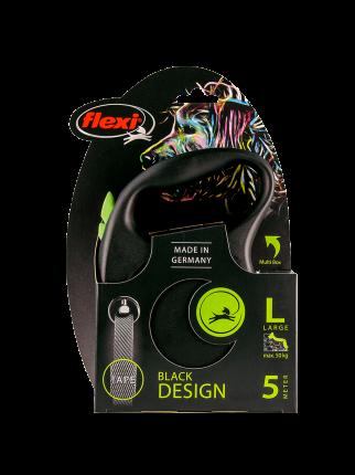 Поводок-рулетка Flexi Black Design tape L 5m 50 kg зеленый