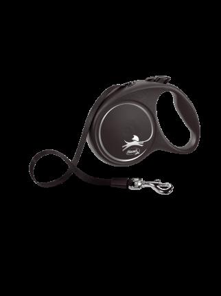 Поводок-рулетка Flexi Black Design tape L 5m 50 kg серебристый