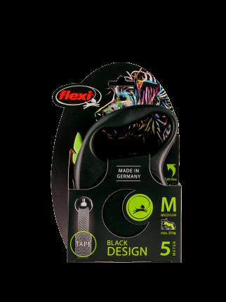 Поводок-рулетка Flexi Black Design tape M 5m 25 kg зеленый