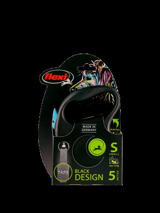 Поводок-рулетка Flexi Black Design tape S 5m 15 kg синий