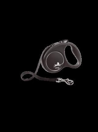 Поводок-рулетка Flexi Black Design tape S 5m 15 kg серебристый