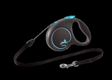 Поводок-рулетка Flexi Black Design cord S 5m 12 kg синий