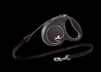 Поводок-рулетка Flexi Black Design cord S 5m 12 kg серебристый