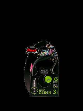 Поводок-рулетка Flexi Black Design cord XS 3m 8 kg розовый