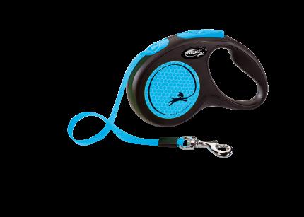 Поводок-рулетка Flexi New Neon S Tape 5m синий