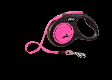 Поводок-рулетка Flexi New Neon S Tape 5m розовый