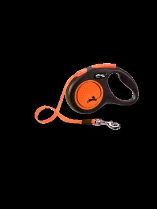 Поводок-рулетка Flexi New Neon S Tape 5m orange
