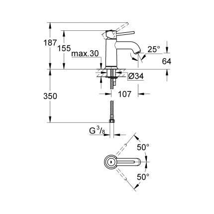 Смеситель для раковины Grohe BauClassic 23162000 хром