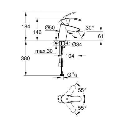 Смеситель для раковины Grohe Eurosmart New 33188002 хром