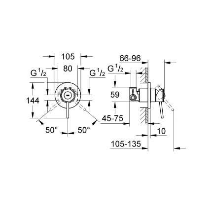 Смеситель для встраиваемой системы Grohe BauClassic 29048000 серебристый