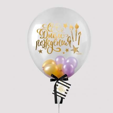 Шары в шаре, С днем рождения, 5, 36, лента, открытка, цвет золото