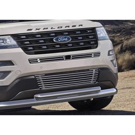 Решетка бампера d10 нижняя Rival для Ford Explorer V 2015-2019, нерж. сталь, G.1806.002