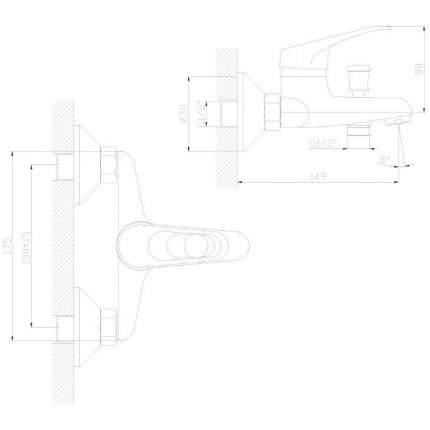 Смеситель для ванны Decoroom DR37035 хром