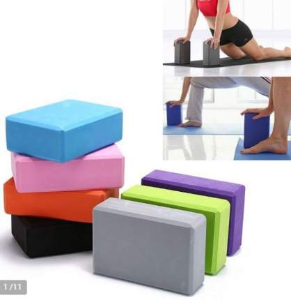 Блок для йоги полумягкий чёрный ZDK 23х15х10см 200гр