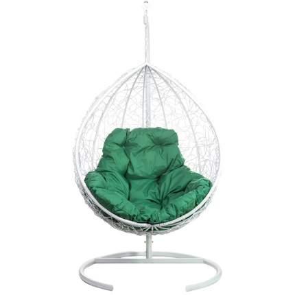 Подвесное кресло Bigarden Tropica белое со стойкой зеленая подушка
