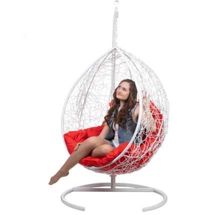 Подвесное кресло Bigarden Tropica белое со стойкой красная подушка