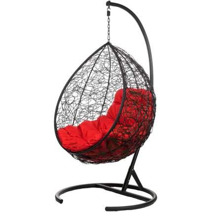 Подвесное кресло Bigarden Tropica черное со стойкой красная подушка