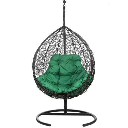 Подвесное кресло Bigarden Tropica черное со стойкой зеленая подушка