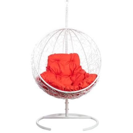 Подвесное кресло Bigarden Kokos белое со стойкой красная подушка