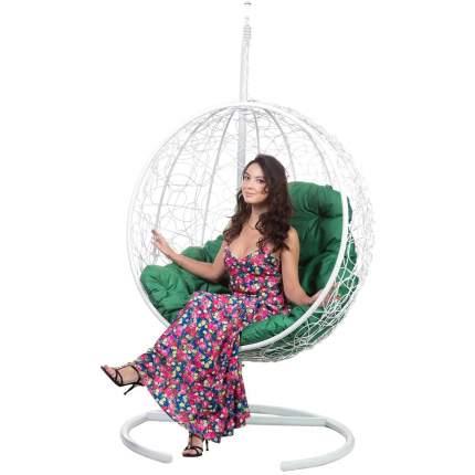 Подвесное кресло Bigarden Kokos белое со стойкой зеленая подушка