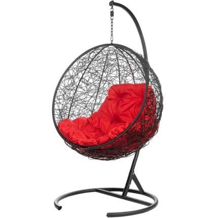 Подвесное кресло Bigarden Kokos черное со стойкой красная подушка