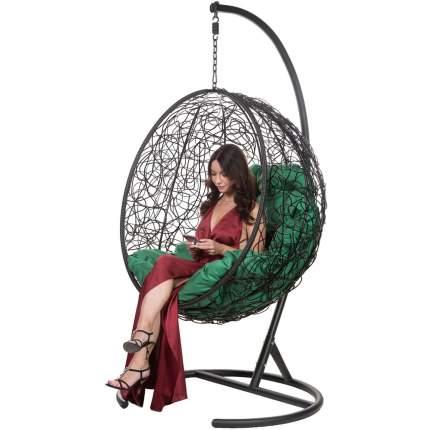 Подвесное кресло Bigarden Kokos черное со стойкой зеленая подушка